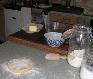 Dough for guest biscuits at High Blean B&B Bainbridge, Askrigg Yorkshire Dales