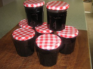 Finished jars of blackcurrant jam made at High Blean B&B Bainbridge.