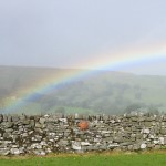 Rainbow in Raydale: High Blean B&B Askrigg rainbow over valley.