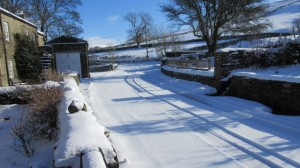 Snow cover in March at High Blean B&B Raydaleside Askrigg Yorkshire Dales