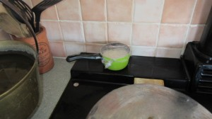 Making yoghurt on the AGA at High Blean B&B Raydaleside Askrigg, Yorkshire Dales.